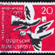 Stockfoto: Postage stamp Germany 1957 Carrier Pigeons