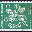 Stock Photo: Postage stamp Germany 1961 St. George Killing Dragon