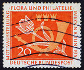 Postage stamp Germany 1957 Tulip and Post Horn — Stock Photo