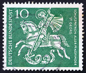 Postage stamp Germany 1961 St. George Killing the Dragon — Stock Photo
