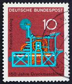 Briefmarke deutschland 1968 koenig-druckmaschine — Stockfoto