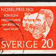 Stock Photo: Postage stamp Sweden 1961 Roentgen, Prudhomme, von Behring and v