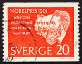 Postage stamp Sweden 1961 Roentgen, Prudhomme, von Behring and v — Stock Photo