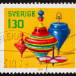 Stock Photo: Postage stamp Sweden 1978 Spinning Tops, Toys