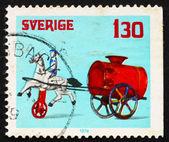邮票瑞典 1978年车手绘图水手推车、 玩具 — 图库照片