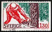 Postage stamp Sweden 1979 Woodcutter in Winter — Stock Photo