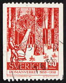 Postage stamp Sweden 1959 Woodcutter in Forest — Stock Photo