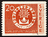 Postage stamp Sweden 1960 Uprooted Oak Emblem, World Refugee Yea — Stock Photo