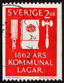 Postage stamp Sweden 1962 Voting Tool, Codex of Law and Gavel — Stock Photo
