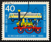 Postage stamp Germany 1965 Old and new railroad engines — Stock Photo