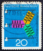 Postage stamp Germany 1966 Diagram of Three-Phase Transmission — Stock Photo