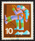 Postage stamp Germany 1970 Mountain Climber, rescuer — Stock Photo