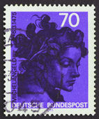 Postage stamp Germany 1975 Head, by Michelangelo Buonarroti — Stock Photo