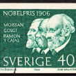 Stock Photo: Postage stamp Sweden 1966 Moissan, Golgi and Ramon y Cayal