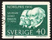 Briefmarke schweden 1966 moissan, golgi und ramon y cayal — Stockfoto