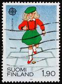 切手フィンランド 1989年少女プレイ — ストック写真