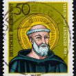 图库照片: Postage stamp Germany 1980 St. Benedict of Nursia