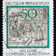 图库照片: Postage stamp Germany 1980 Reading of Confession of Augsburg to