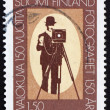 Postage stamp Finland 1989 Photographer and box camera — Stock Photo