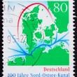 Postage stamp Germany 1995 Map of Kiel Canal - Stock Photo