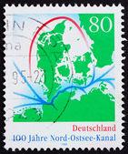 Mapa de Alemania 1995 estampilla del canal de kiel — Foto de Stock