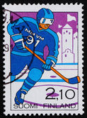 Postage stamp Finland 1991 Man Playing Hockey — Stock Photo