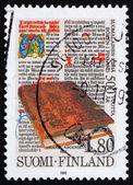 Postage stamp Finland 1989 The 1st printed book in Finland — Stock Photo