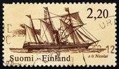 Poštovní známka finsko 1986 poštovní parník nicolai — Stock fotografie