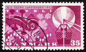 Postage stamp Denmark 1962 Violin Scroll, Leaves, Lights and Bal — Stock Photo