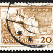 图库照片: Postage stamp Denmark 1962 Cliffs on Moen Island