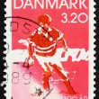 Postage stamp Denmark 1989 Soccer player — Foto Stock #8644336