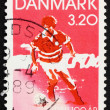 Postage stamp Denmark 1989 Soccer player — Stock Photo #8644336