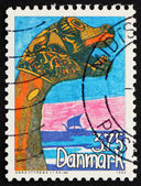 Postage stamp Denmark 1993 Child's Drawing of Viking Ships — Foto Stock