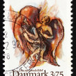 图库照片: Postage stamp Denmark 1992 Jacob's fight with angel