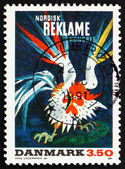 Postage stamp Denmark 1991 Poster for Nordic Advertising Congres — Stock Photo