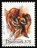 Postage stamp Denmark 1992 Jacob's fight with angel — Стоковое фото