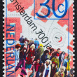 Postage stamp Netherlands 1975 and Map of Dam Square — Stock Photo #8693435