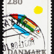 Postage stamp Denmark 1987 Abstract by Ejler Bille - Stock Photo