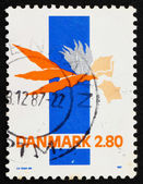 Postage stamp Denmark 1986 Abstract by Lin Utzon — Stock Photo