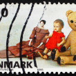 Postage stamp Denmark 1995 Dolls and Teddy bear, Toys — Stock Photo #8710164