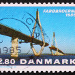 Postage stamp Denmark 1985 Opening of the Faro Bridges - Stock Photo
