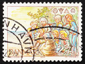 Postage stamp Denmark 1984 Scouts around Campfire — Stock Photo