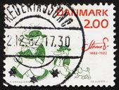 邮票丹麦 1982年彼得和 ping 企鹅 — 图库照片