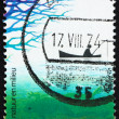 Stock Photo: Postage stamp Netherlands 1974 Fishermin Boat and Frog