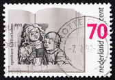 Postage stamp Netherlands 1991 Children Reading — Stock Photo