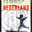 Postage stamp Netherlands 1989 Boy playing football - Stock Photo