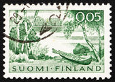 Postage stamp Finland 1961 Lake and Rowboat — Stock Photo
