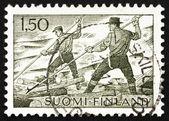Postage stamp Finland 1963 Log floating — Stock Photo