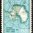 Postage stamp Norway 1956 Map of South Pole with Queen Maud Land — Stock Photo #8885179