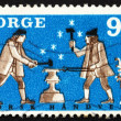 Postage stamp Norway 1968 Two Smiths - Stock Photo